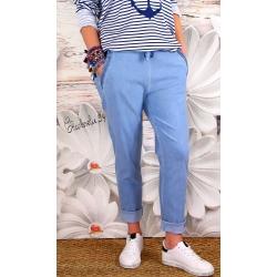 Pantalon femme grande taille stretch bleu NAYA-Pantalon femme-CHARLESELIE94