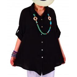 Chemise femme grande taille lin été noir PERIGORD