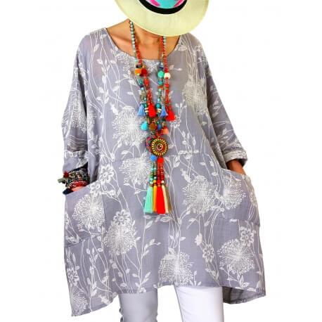 Tunique longue grande taille été gris PAPYRUS-Tunique femme-CHARLESELIE94