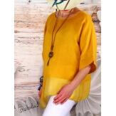 Tunique grande taille lin été bohème jaune CHOUPA