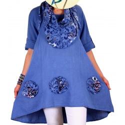 Tunique longue grande taille été foulard bleu ROMEO