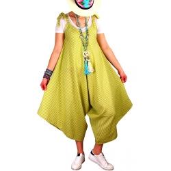 Robe combinaison longue lin été anis ADAM