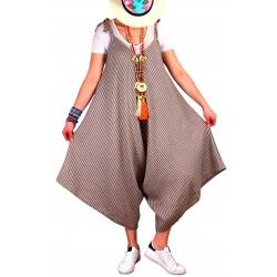 Robe combinaison longue lin été taupe ADAM