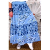 Jupe longue grande taille bohème bleu jean MEGAN