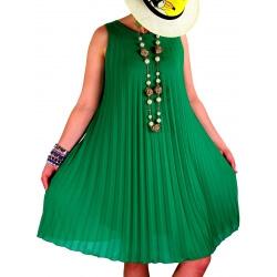 Robe chic plissée mousseline vert ANTIBES