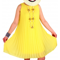 Robe chic plissée mousseline jaune ANTIBES