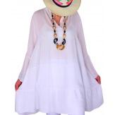 Tunique grande taille bohème romantique blanc MARSEILLE