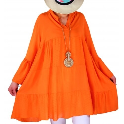 Tunique grande taille bohème romantique orange MARSEILLE