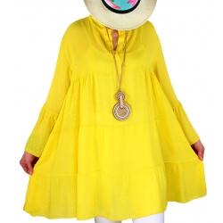 Tunique grande taille bohème romantique jaune MARSEILLE