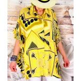 Chemise femme grande taille graphique été jaune VANIA