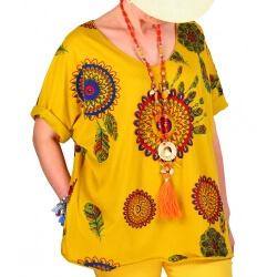 Tee shirt femme grande taille été bohème jaune INDIEN