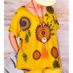 Tee shirt femme grande taille été bohème jaune INDIEN-Tee shirt femme-CHARLESELIE94