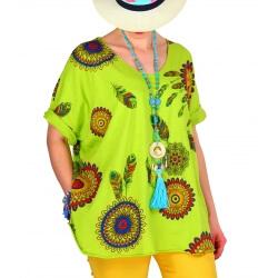 Tee shirt femme grande taille été bohème anis INDIEN