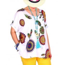 Tee shirt femme grande taille été bohème blanc INDIEN