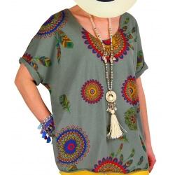Tee shirt femme grande taille été bohème kaki INDIEN