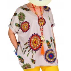 Tee shirt femme grande taille été bohème beige INDIEN