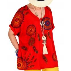 Tee shirt femme grande taille été bohème rouge INDIEN