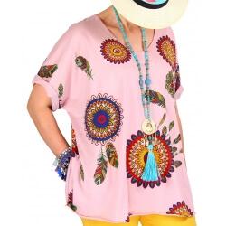 Tee shirt femme grande taille été bohème rose INDIEN