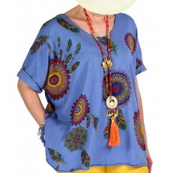 Tee shirt femme grande taille été bohème bleu jean INDIEN