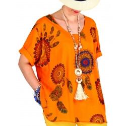 Tee shirt femme grande taille été bohème orange INDIEN