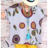 Tee shirt femme grande taille été bohème gris INDIEN