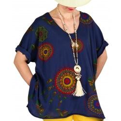 Tee shirt femme grande taille été bohème bleu marine INDIEN