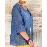 Gilet femme grande taille dentelle bohème bleu jean PRALINE