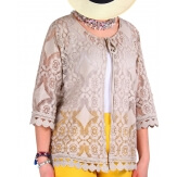Gilet femme grande taille dentelle bohème beige PRALINE