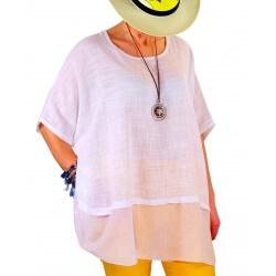 Tunique grande taille coton été blanc KATIA