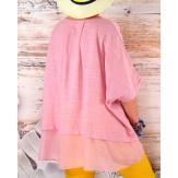 Tunique grande taille coton été rose KATIA