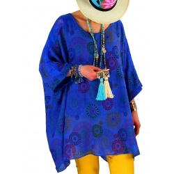 Tunique grande taille été coton lin dentelle bleu roi ELYSEE