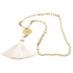 Sautoir long bohème perles verre pompons C91