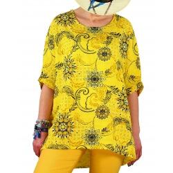 Tunique grande taille été coton tissé jaune SANDER