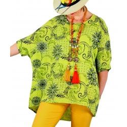 Tunique grande taille été coton tissé vert anis SANDER