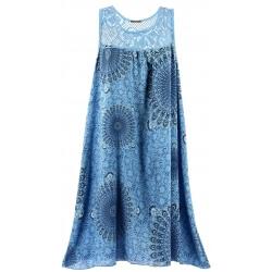 Robe grande taille été ethnique bleu jean MANDALA