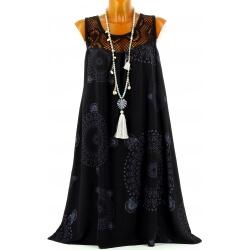 Robe grande taille été ethnique noir MANDALA