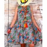 Robe femme grande taille plissée ZUMBA Gris-Robe femme-CHARLESELIE94