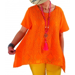 Tunique été dentelle bohème chic orange YALE