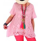 Tunique été dentelle bohème chic rose YALE