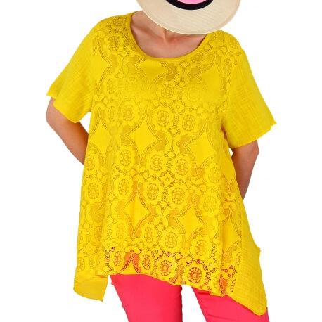 Tunique été dentelle bohème chic jaune YALE