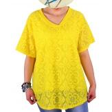 Tunique été dentelle bohème chic jaune NOMAD