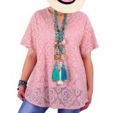 Tunique été dentelle bohème chic rose NOMAD