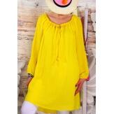 Robe tunique bohème crépon coton jaune LIKE