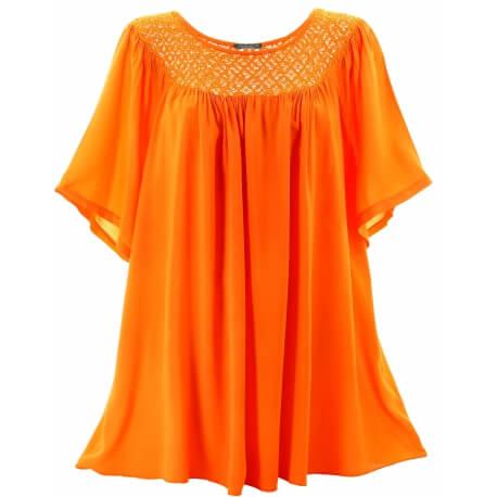 Tunique grande taille dentelle bohème été orange PATOU