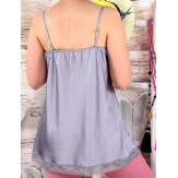 Caraco top grande taille satin dentelle gris SINATRA-Top femme-CHARLESELIE94