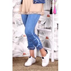 Legging grande taille dentelle bohème bleu jean MALVY