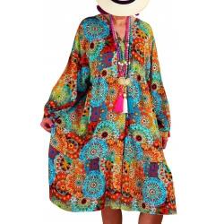Robe grande taille bohème ethnique TRACY