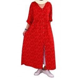 Robe grande taille longue bohème été rouge SICILE