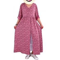 Robe grande taille longue bohème été rose SICILE
