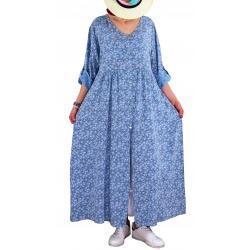 Robe grande taille longue bohème été bleu jean SICILE